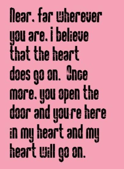 Celine Dion - My Heart Will Go On - song lyrics music lyrics music quotes song quotes songs  sc 1 st  Pinterest & Celine Dion - My Heart Will Go On - song lyrics music lyrics music ...