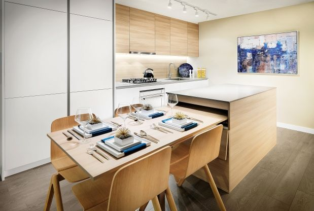 The Riversky Display Suite Showcases A Dining Table That 8217 S Hidden In The K Apartment Kitchen Island Kitchen Island Dining Table Stools For Kitchen Island