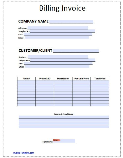 Blank Invoice Template For Microsoft Word  Blank Invoice Template
