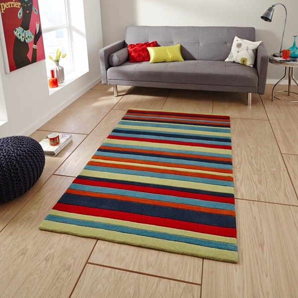The Hong Kong Multi Coloured Striped rug is handmade in China and offers a luxurious, deep, soft 100% Acrylic pile. #Cosy #StripedRugs