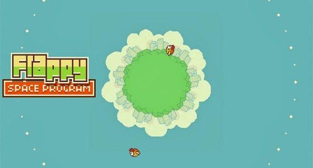 Em Flappy Space Program o objetivo do jogo é fazer com que o passarinho descole de um pequeno planeta e entre numa órbita estável.