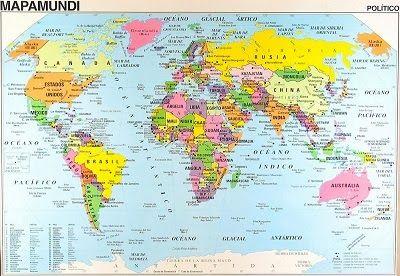 Mapas Planisferios con Divisin Poltica y con nombres  Color