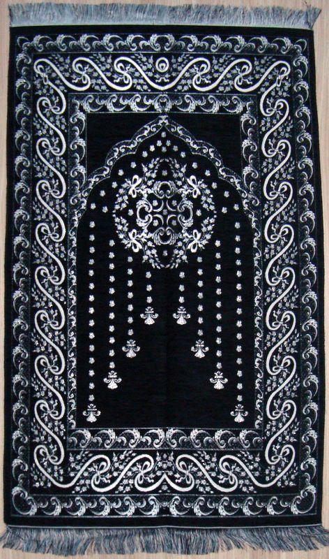 BLACK Islamic Prayer Rug   Prayer CARPET   Mat Namaz Salat Musallah Ottoman