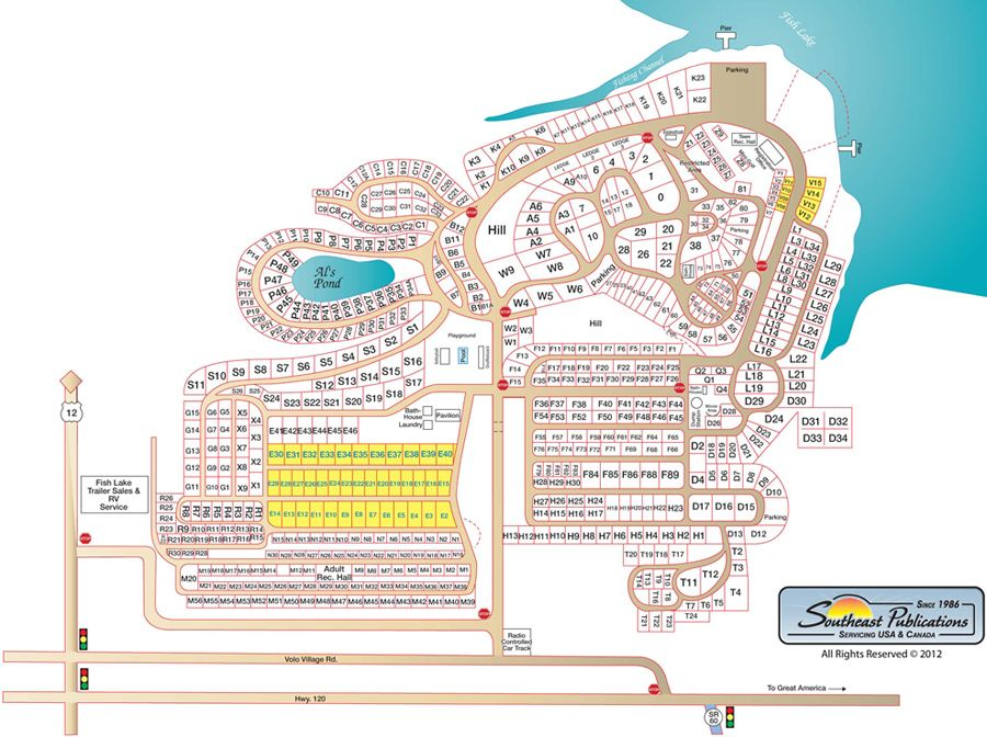 Map of Fish Lake Beach Resort in Volo, Illinois Camping