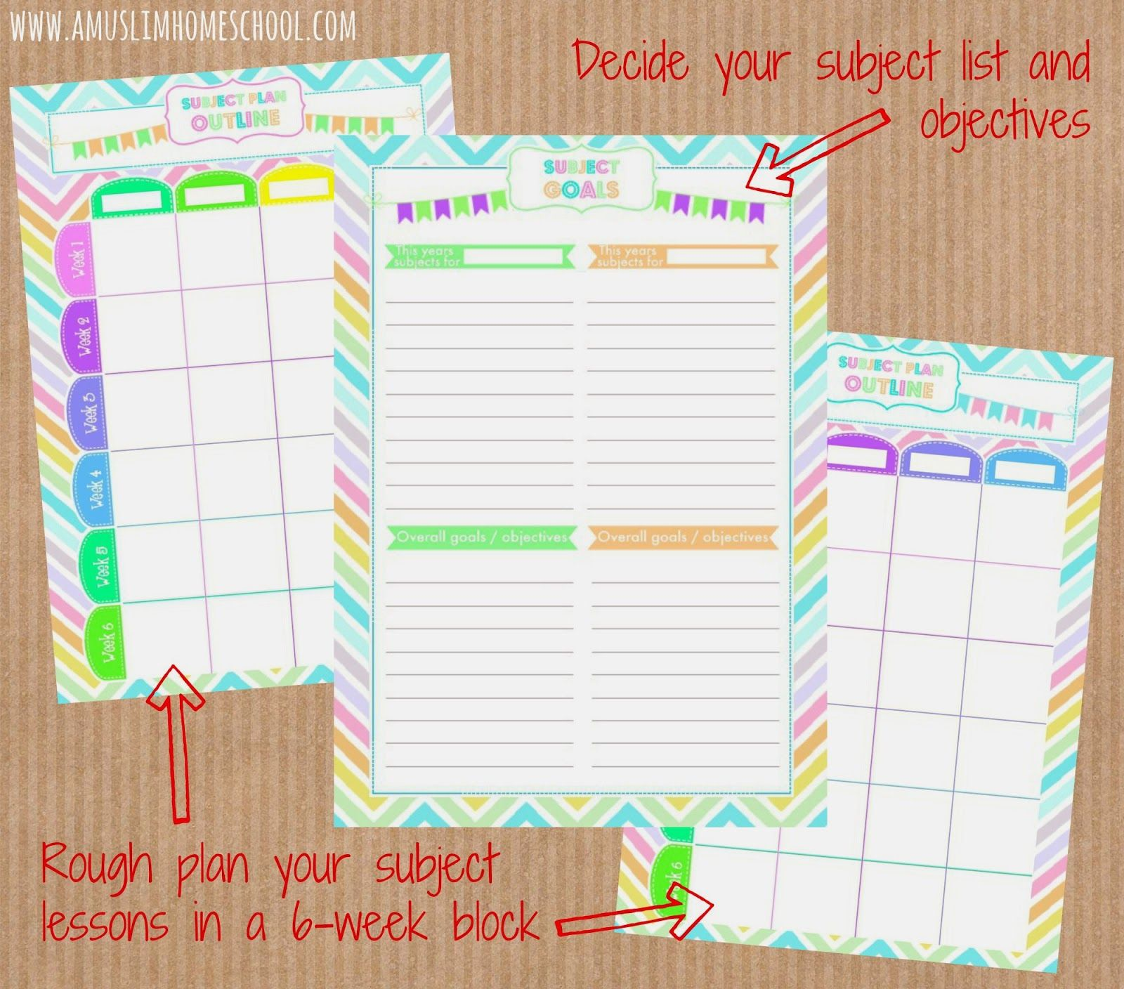 Printable Planners Include Home Education Subject Planner Home