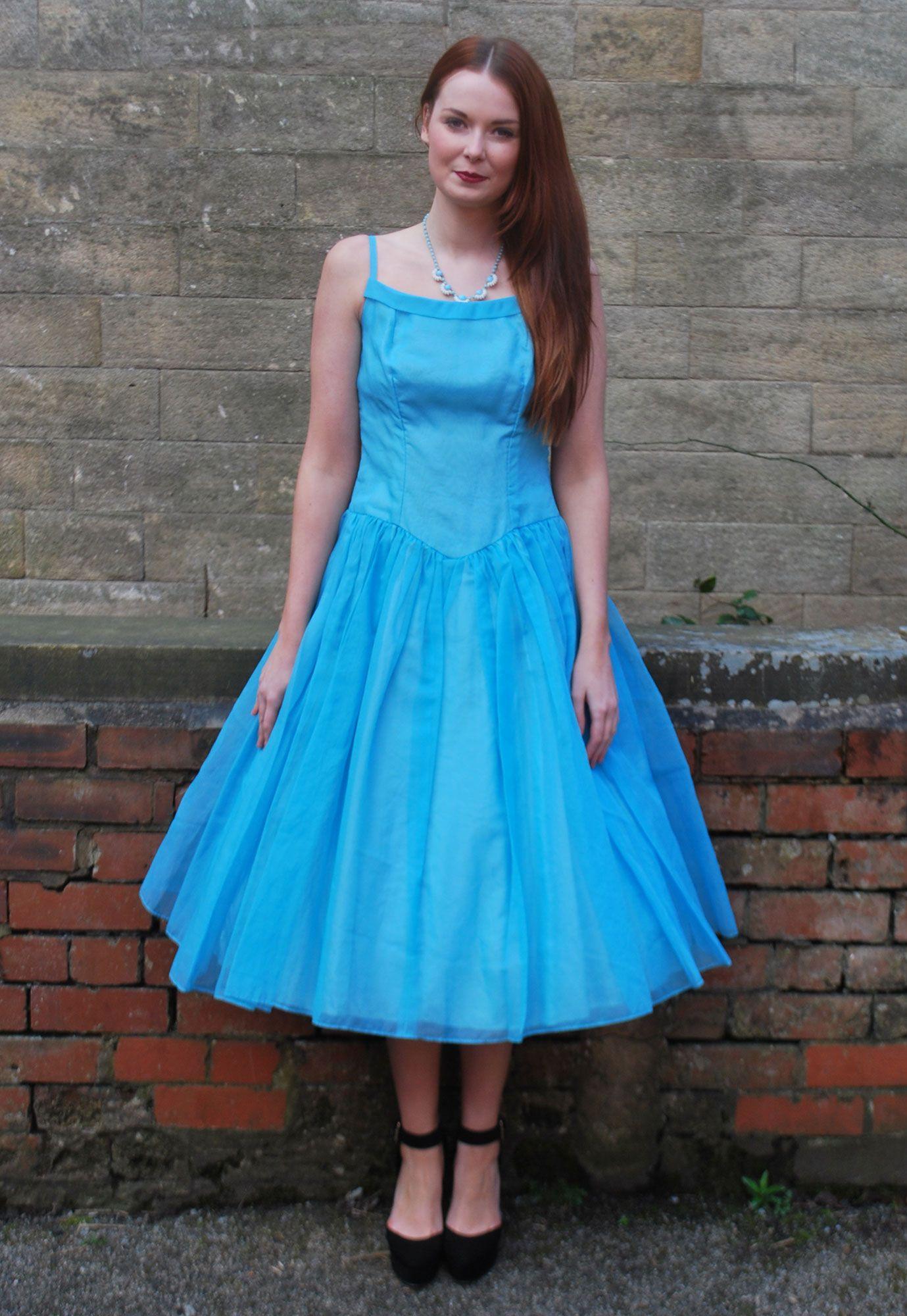 S vintage blue chiffon swing prom dress size top vintage