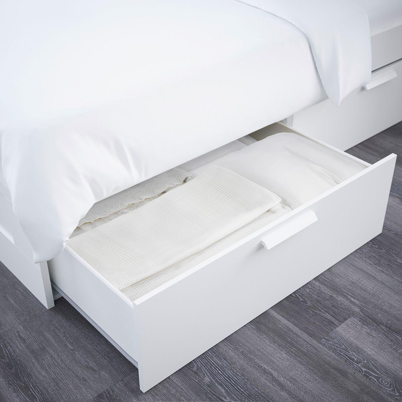 Brimnes Bettgestell Kopfteil Und Schublade Weiss Leirsund In 2020 Verstellbare Betten Brimnes Bett Und Bettgestell