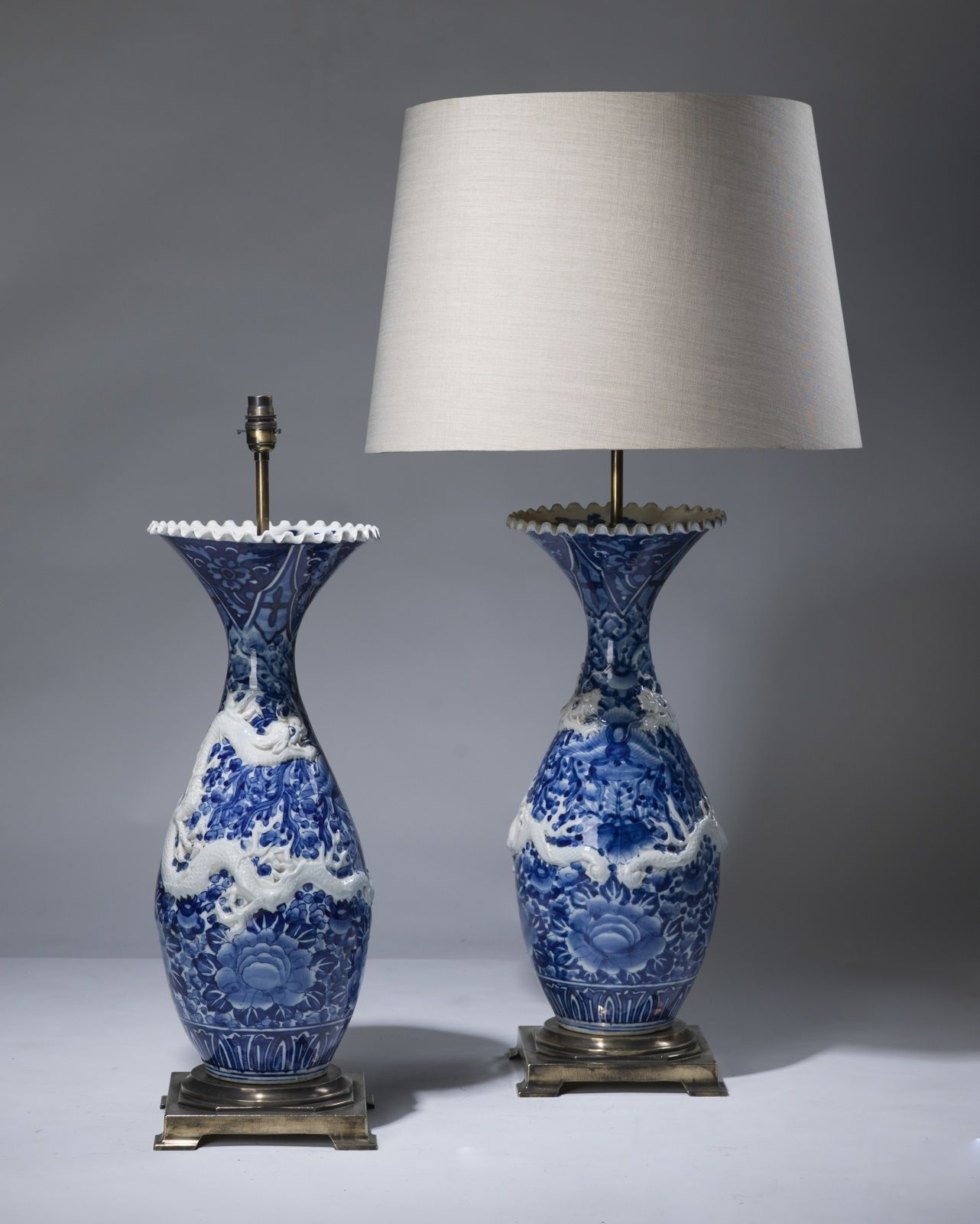 Pair Of Large Blue U0026 White Antique Ceramic Lamps On Distressed Brass Bases