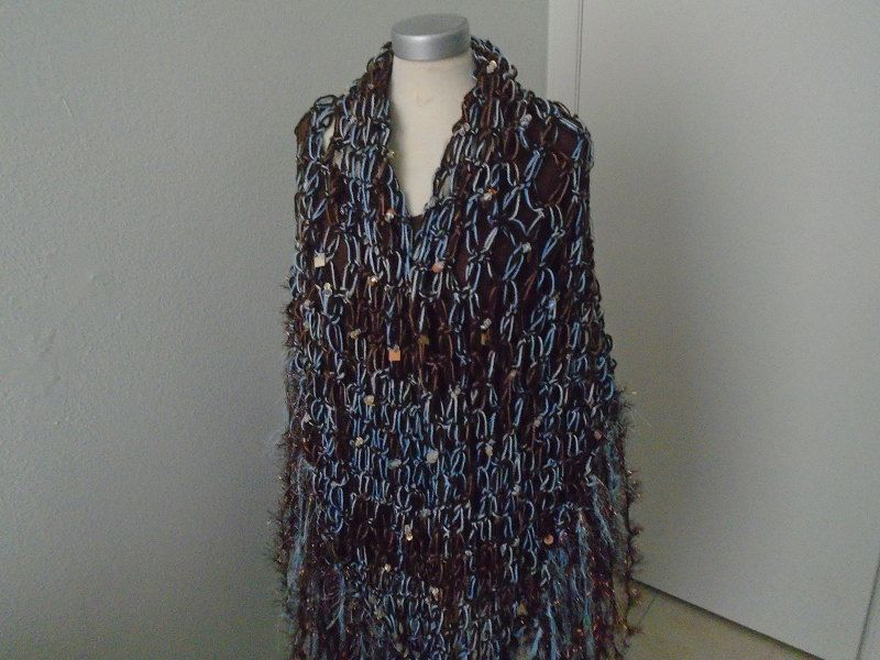 Ski Chalet Inspired Beaded Crochet Shawl Embellished With