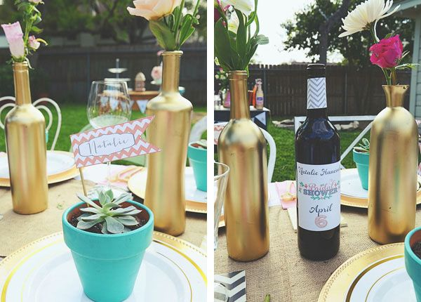 Cover wine bottles in gold paint for vases, and plant name flags in #succulent favors! Photo by Dana Fernandez Photography