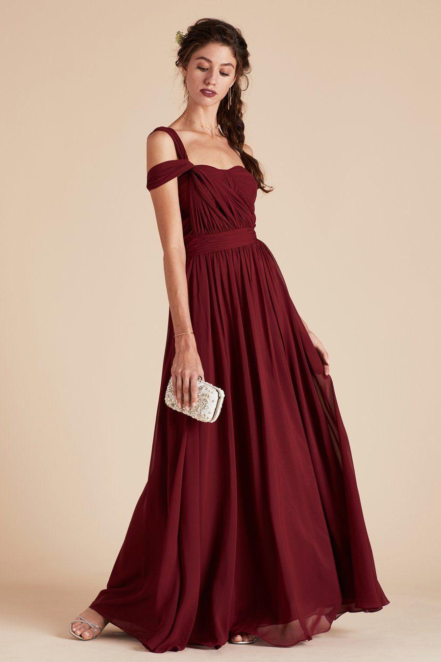 c8359dadb09 Gracie Convertible Bridesmaid Dress in Chiffon burgundy by Birdy Grey.  Under  100