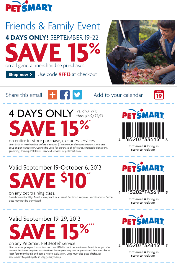Pinned September 19th 15 off at PetSmart, or online via