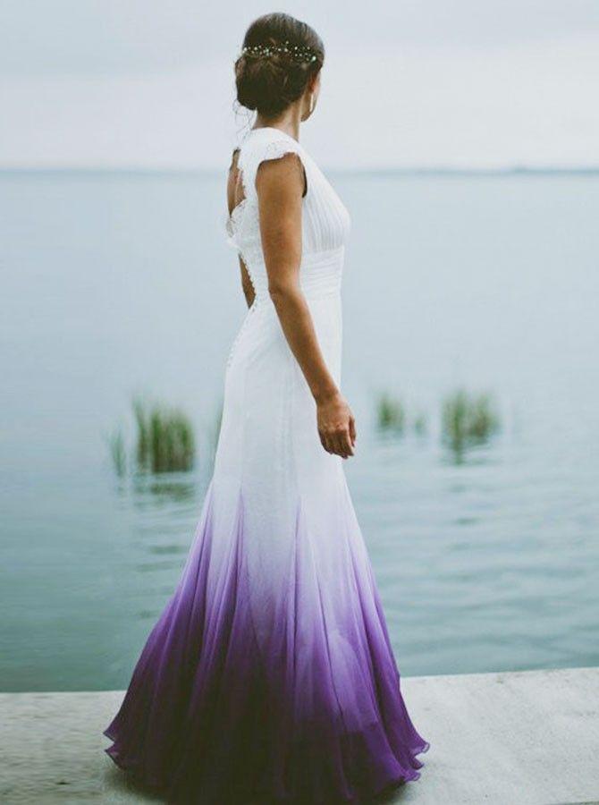 Mermaid Round Neck Open Back Purple Dip Dye Chiffon Wedding Dress ...