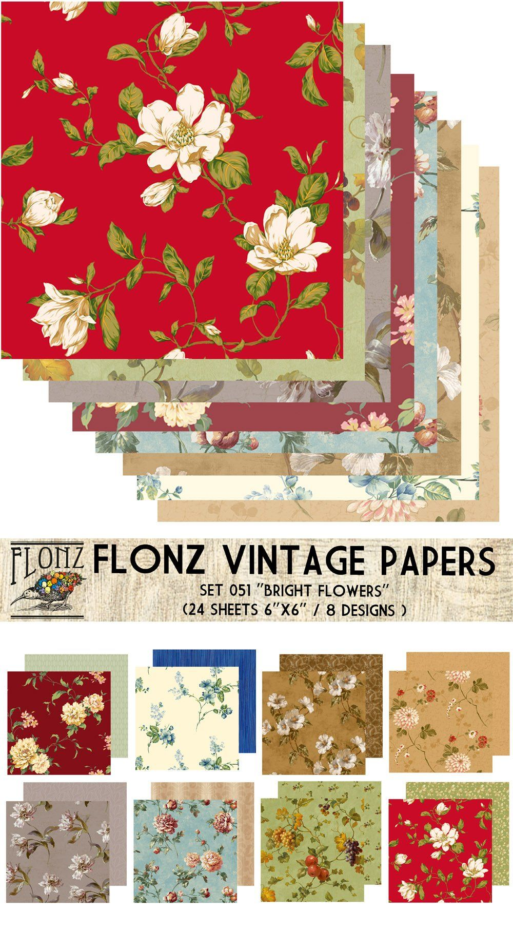 Paper Pack 24sh 15x15cm Bright Christmas FLONZ Vintage Paper for Scrapbooking and Craft
