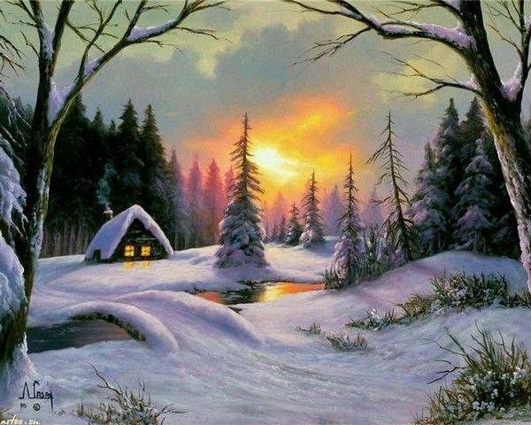 l 39 hiver hiver pinterest hiver paysages et peinture. Black Bedroom Furniture Sets. Home Design Ideas