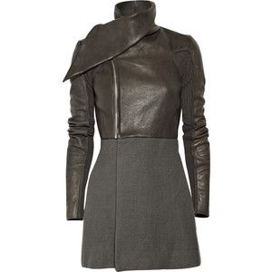 Rick Owens Sparta Leather And Angora-Blend Jacket
