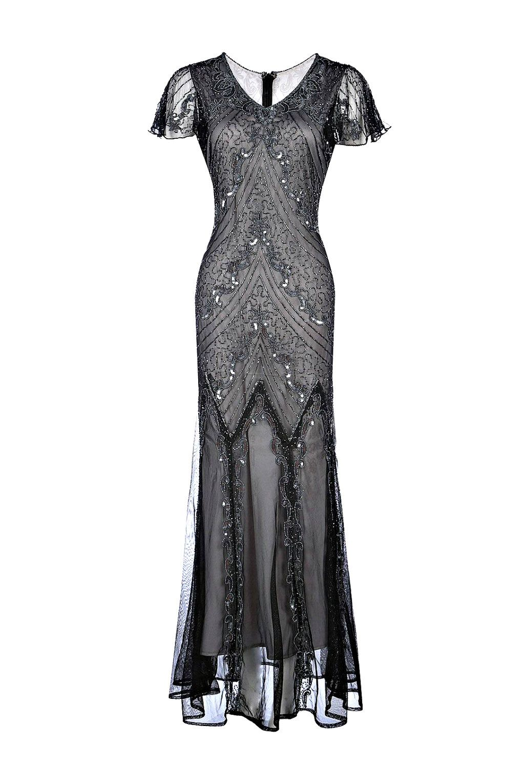 b76aec958cd Ellen Grey Embellished Flapper Dress