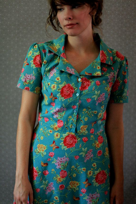 Retro Dress in Jade size 6 small s by LetsBacktrack on Etsy