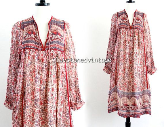 70s Mint Vintage Peacock India Tent Cotton by LuvStonedVintage, $295.00