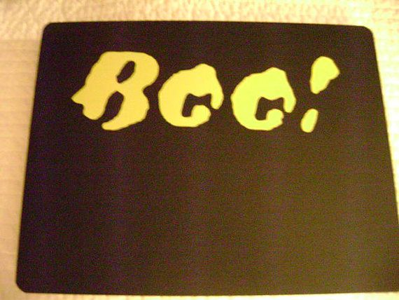 SALE Halloween sign chalkboard 12x9 BOO Yellow by VinylSkyGraphics, $8.50