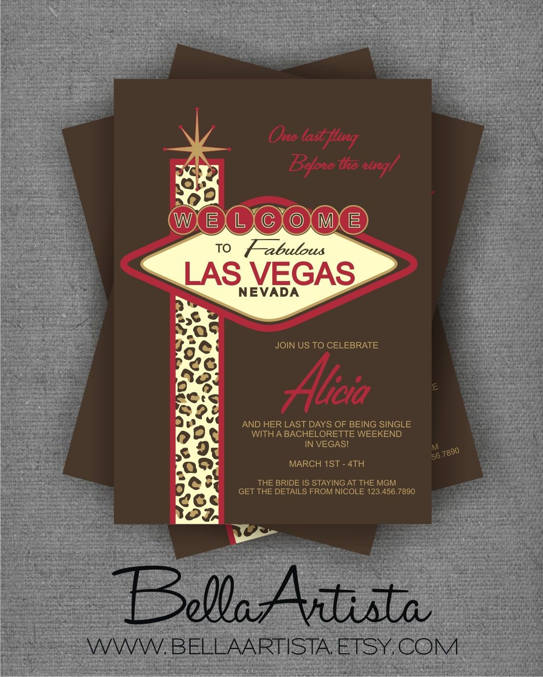 Welcome To Las Vegas Bachelorette Party Invitation