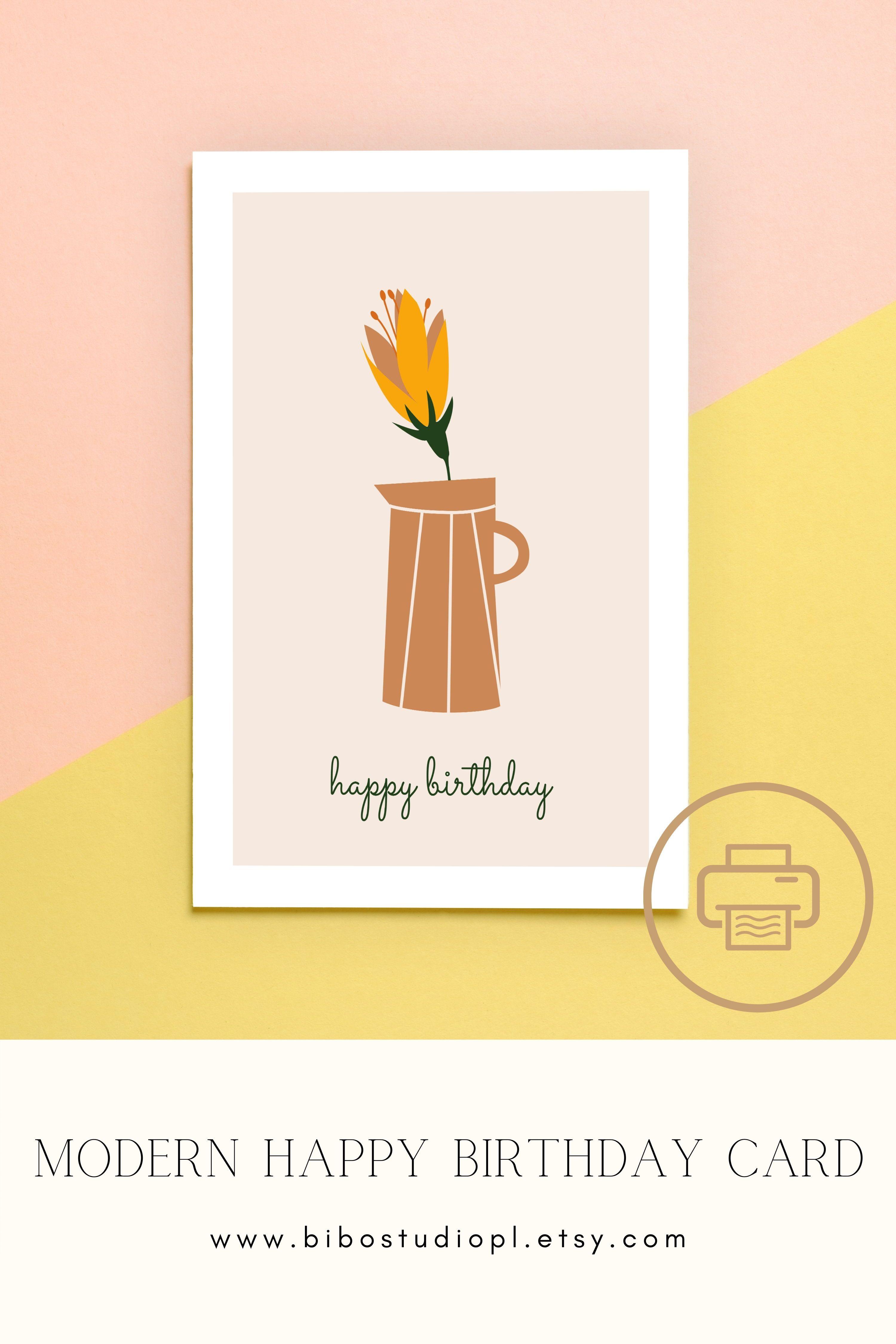 Printable Happy Birthday Card Happy Birthday Floral Minimal Card Happy Birthday Cards Printable Happy Birthday Cards Birthday Cards