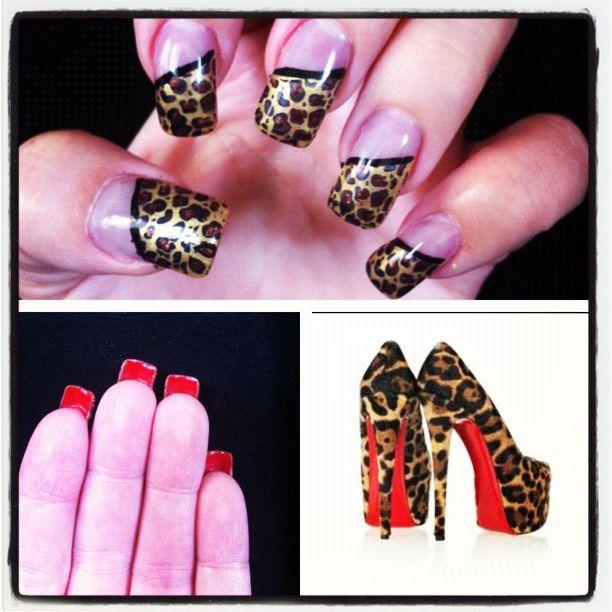 My Christian Louboutin inspired nails #leopardprint #redbottoms ...