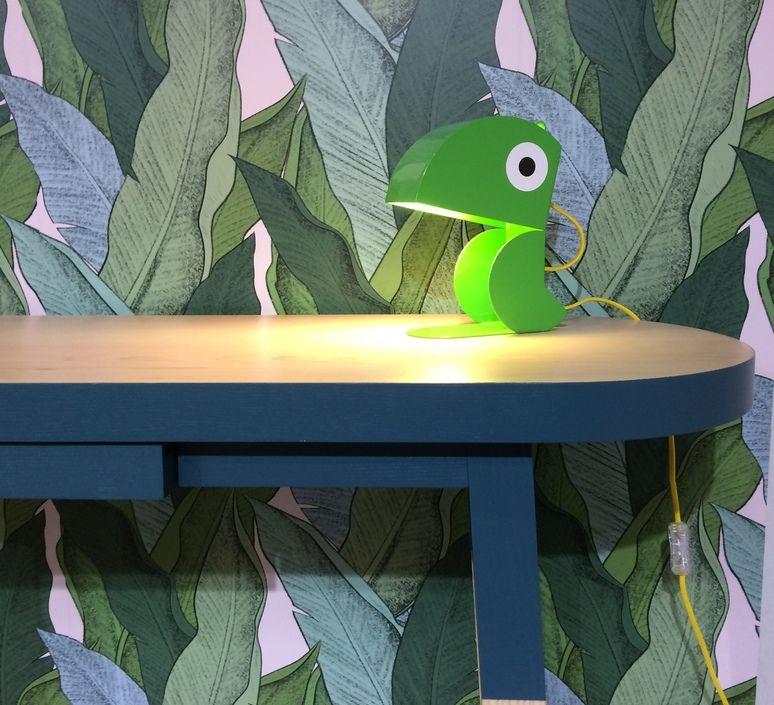 Lampe à poser, Dinosaure, turquoise, L24cm, H22cm Bleu
