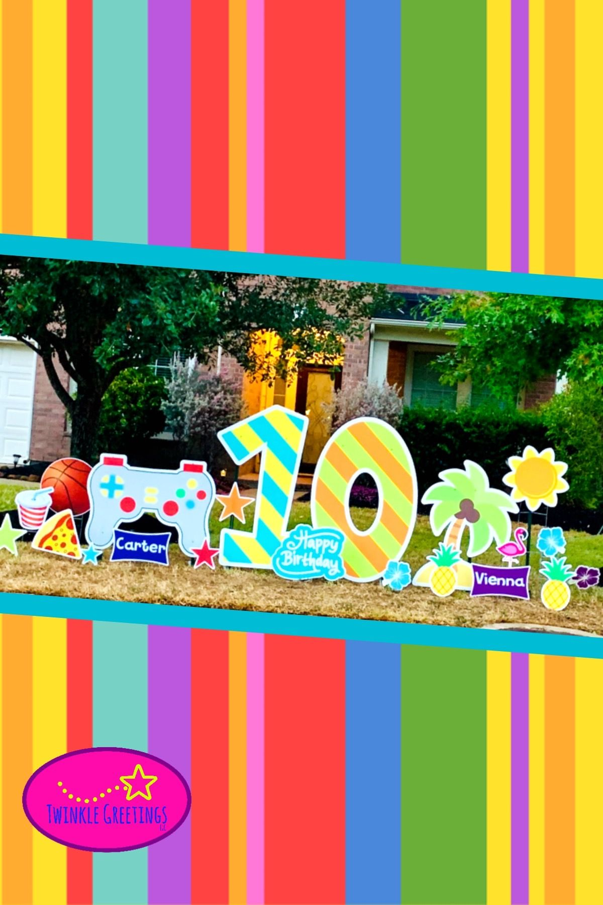 Rent a colorful, unique yard greeting for your next party ...