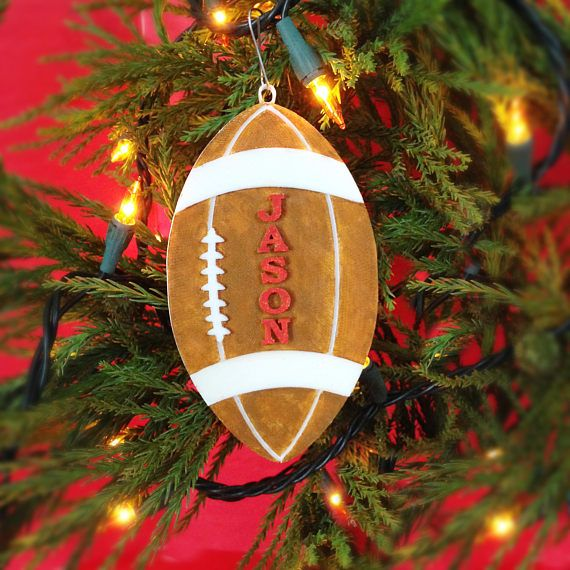 Football Christmas Tree Ornament Football Jersey Number Car. Personalized Football  Ornament. A fun way - Football Christmas Tree Ornament - Football Jersey Number Car Mirror