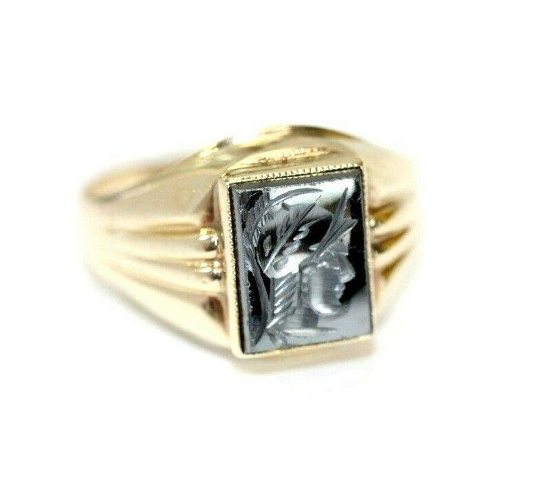 Vintage Womens 10k Yellow Gold Hematite Soldier Warrior Ring Size 5 5 2 1 Gram Gold Hematite Warrior Ring Hematite Ring