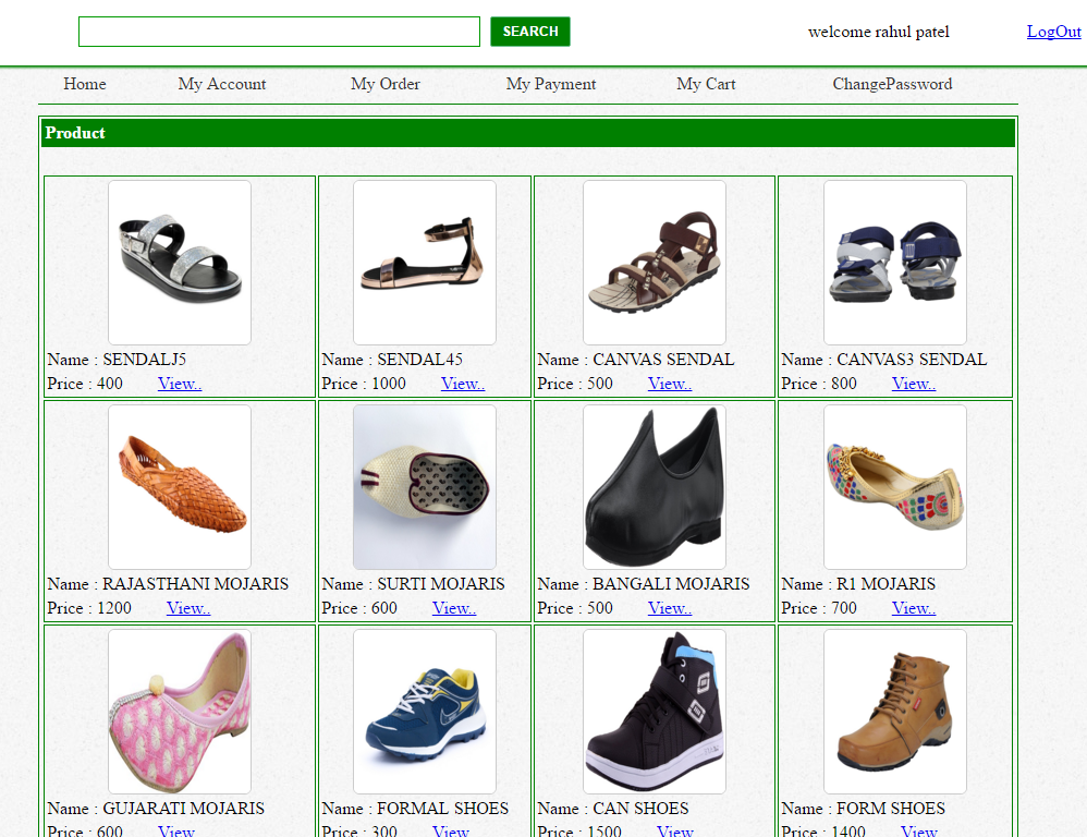 Online Shoes Shopping website project in c#