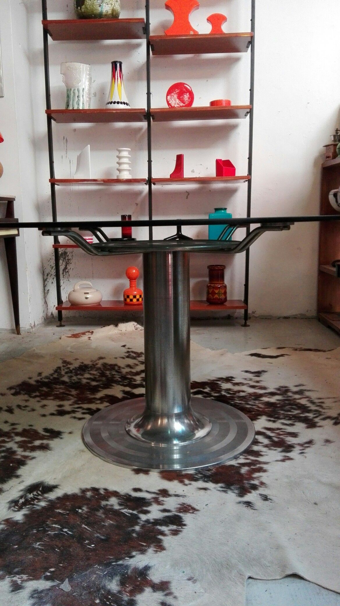 Tavoli In Cristallo Milano.Tavolo Anni70 Cristallo E Acciaio Piano Da 15mm Diametro 126