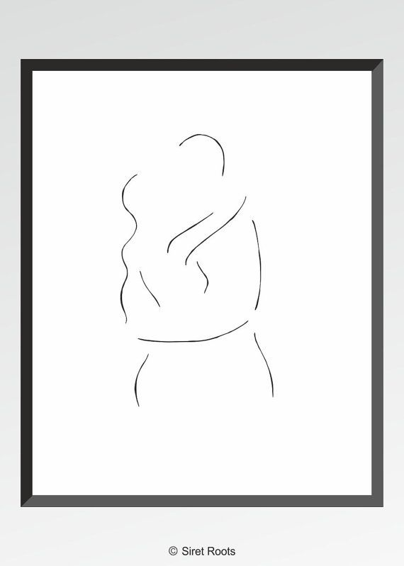Nice Kissing Figures Art Print. Black And White Drawing Of Couple. Minimalist  Embrace Illustration. Amazing Pictures
