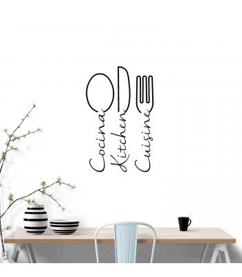 Cubiertos Tenedor Cuchara Cuchillo Cocina Pegatinas De Pared Decoración De Café Vinilo Arte Calcomanías Hazlo tú mismo