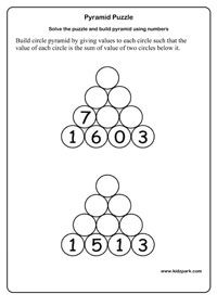Numbers Using Pyramid Puzzle Worksheets,Pyramid Number Puzzle,Math ...