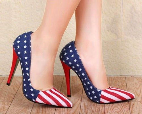 beff5f14444 Details about USA American Flag Women High Heels Pump Up Shoes ...