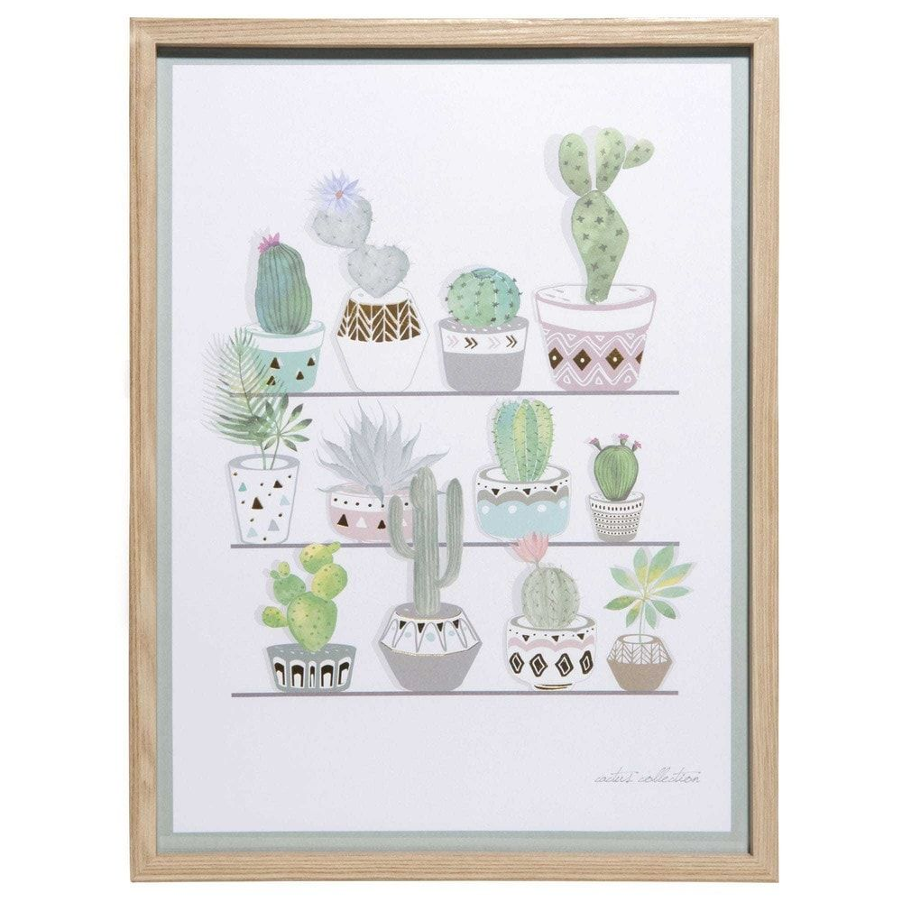 Cuadro de aluminio dorado 30x40 cm cactus collection - Collection maison du monde ...