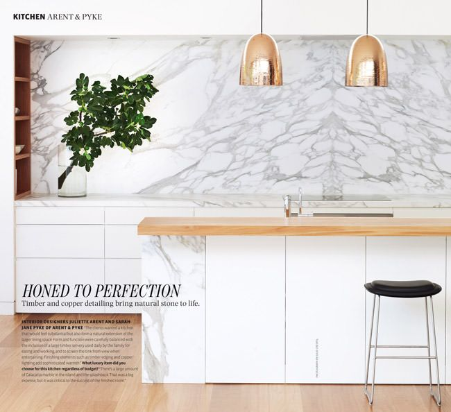 Photo Album For Website Arent Pyke kitchen timber marble copper pendants Belle April May