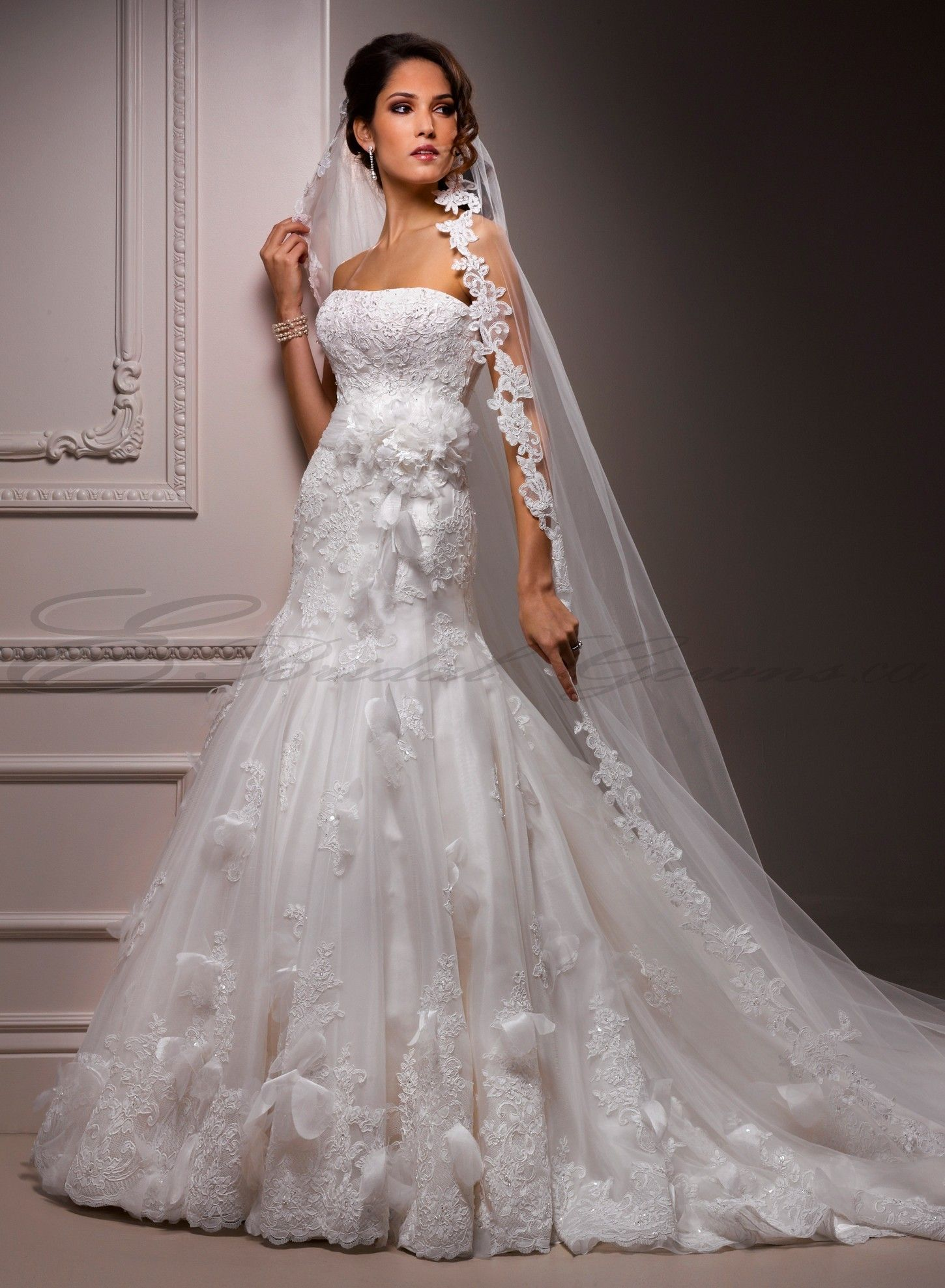 Organza and tulle full a line strapless neckline fit and for Fit and flare tulle wedding dress