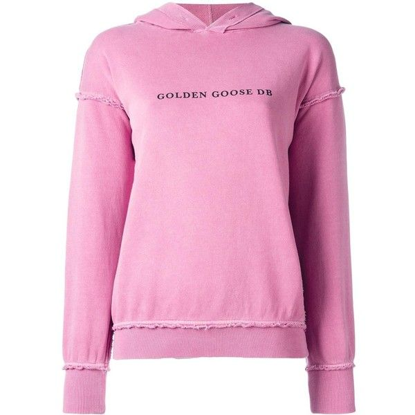 Golden Goose Deluxe Brand Marina hoodie ($245) ❤ liked on Polyvore featuring tops, hoodies, hooded pullover, print hoodies, pink hooded sweatshirt, long sleeve hoodie and sweatshirt hoodies