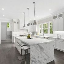 36+The Number One Article on Waterfall Countertop Kitchen - athomebyte #waterfallcountertop