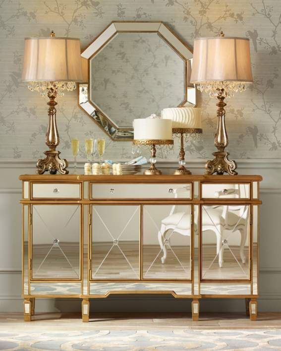 Hollywood Regency Mirrored Console Gold Cabinet Dresser Table