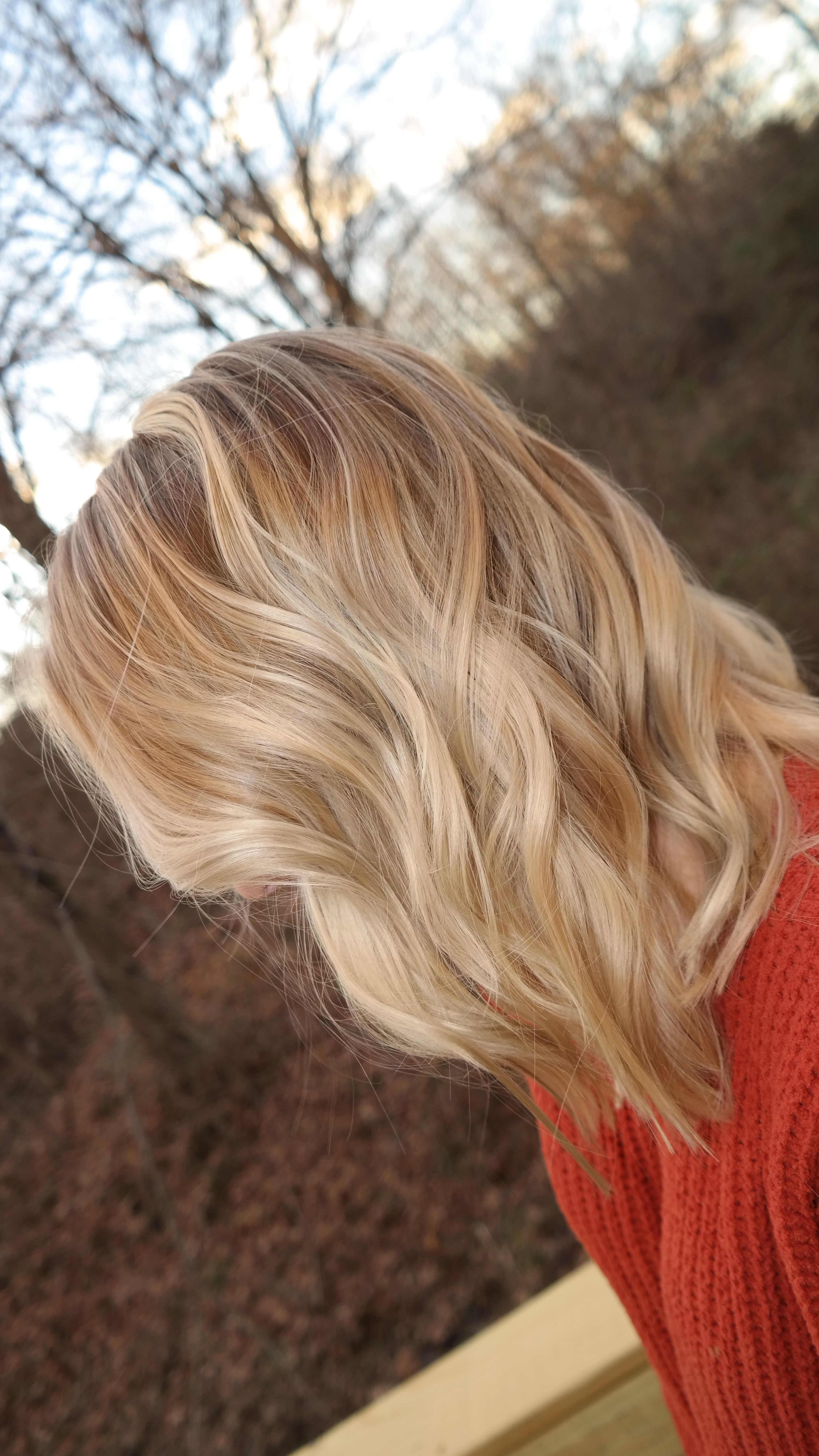 Fall balayage blonde Darker roots with golden and ashy tones