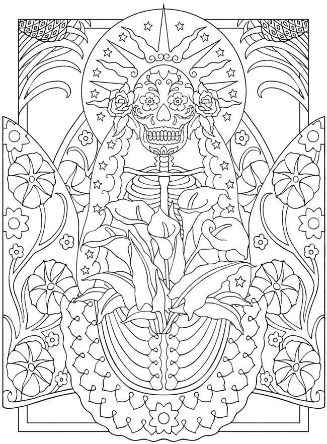 la santa muerte day of the dead colouring book