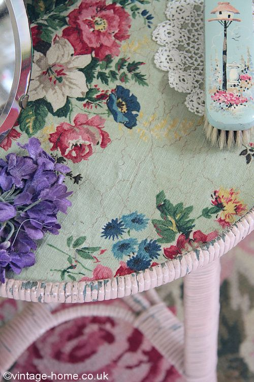 Pink Lloyd Loom Table with Vintage Fabric Inset, Violet Millinery ...