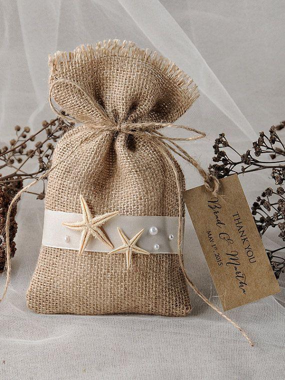Beach Favor Bag, Destination Wedding Bag , Wedding Favor Bag , Starfish Bag , Wedding thank you bag, Rustic gift bag,lets love grow