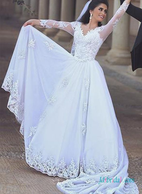Romance White Chiffon Lace Detailed Long Sleeves Wedding Dress