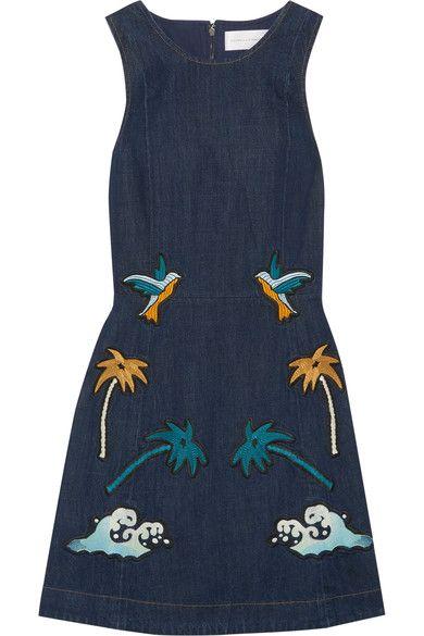 ac668c786 Victoria, Victoria Beckham - Embroidered Denim Mini Dress - Dark denim  Embroidery Fashion, Embroidery
