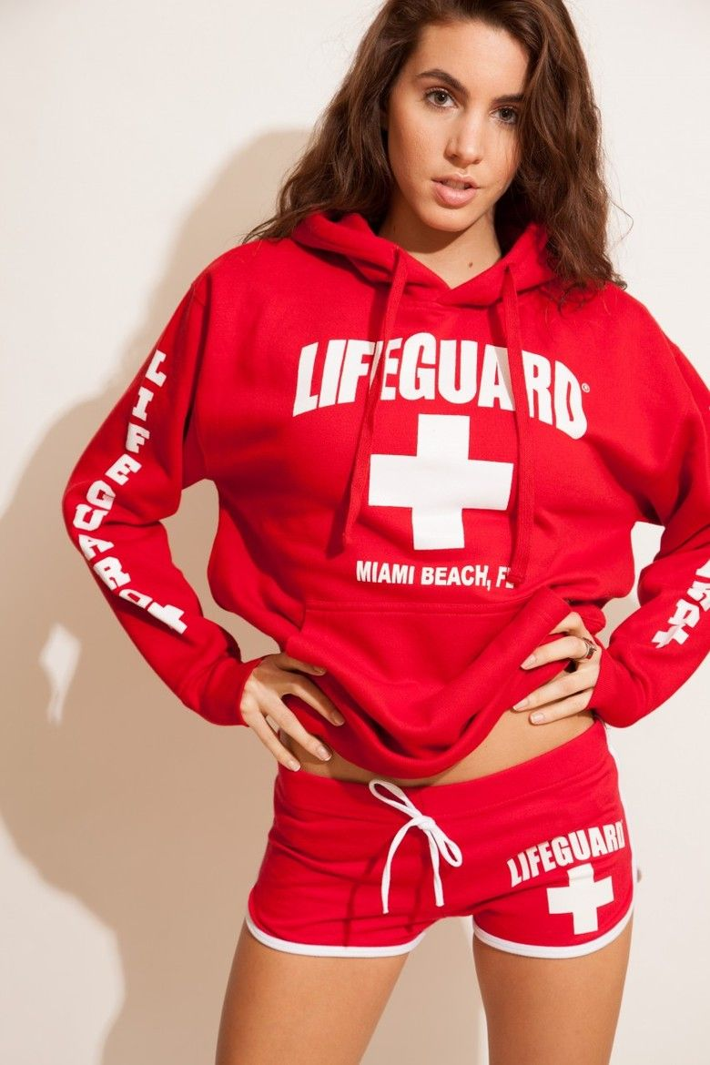 Costume idea Lifeguards girl top life guard printed on tank top (white or red) bottom red ...
